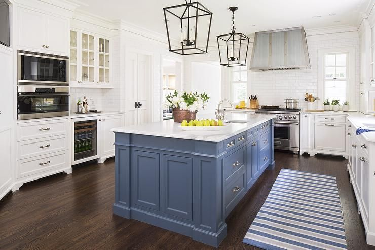 blue-kitchen-island-white-cabinets